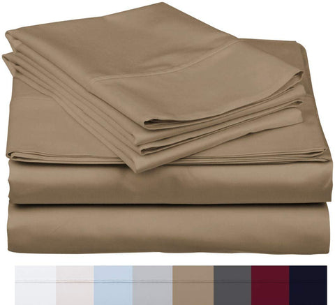 The Bishop Cotton 100% Egyptian Cotton 800 Thread Count 4 PC Solid Pattern Bed Sheet Set Italian Finish True Luxury Hotel Collection Fits Up to 16 Inches Deep Pocket (King, Taupe).