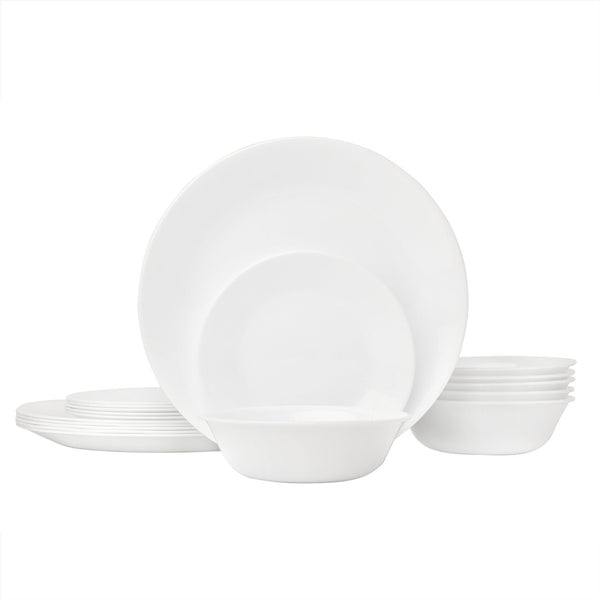 Corelle Livingware Piece Dinnerware Set, Winter Frost White , Service for 8 (24-Piece Set)