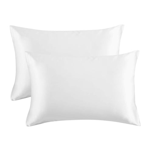 Bedsure Satin Pillowcase for Hair and Skin, 2-Pack - Queen Size (20x30 inches) Pillow Cases - Satin Pillow Covers with Envelope Closure, Pure White