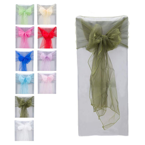 ADUTY 10PCS Elegant Organza Chair Cover Sash/Sashes Banquet Wedding Chair decoration Chair Band Ribbon Bow Ties for Wedding Party and Events Banquet Special Decor Supplies CW001-GM (Dark Green, 10PCS)