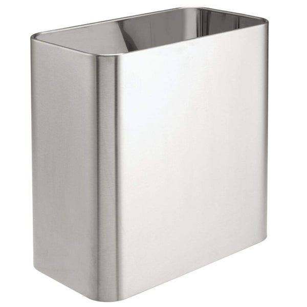 mDesign Rectangular Small Trash Can Wastebasket, Garbage Container Bin - for Bathrooms, Powder Rooms, Kitchens, Home Offices - Solid Stainless Steel - Brushed