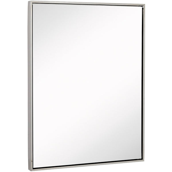 Clean Large Modern Polished Nickel Frame Wall Mirror | Contemporary Premium Silver Backed Floating Glass Metal Frame | Vanity or Bathroom | Mirrored Rectangle Hangs Horizontal or Vertical  (30