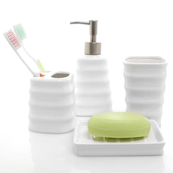 MyGift 4 Piece Ribbed White Ceramic Bathroom Accessory Set w/Toothbrush Holder, Tumbler, Soap Dish & Dispenser