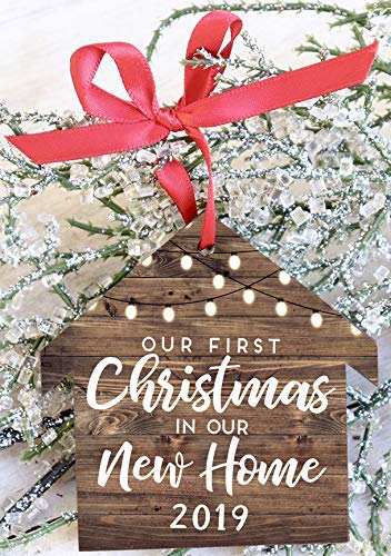 Our First Christmas In Our New Home 2019 House Shaped Christmas Ornament Rustic Farmhouse Decor
