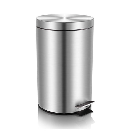 Mini Trash Can with Lid Soft Close, Magdisc Round Bathroom Trash Can with Removable Inner Wastebasket, Anti-Fingerprint Brushed Stainless Steel Trash Can, 0.8Gal/3L