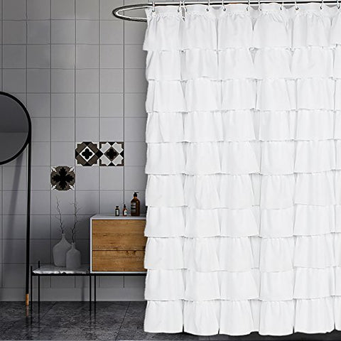 Volens White Shower Curtain Fabric/Ruffle for Bathroom,72in Long