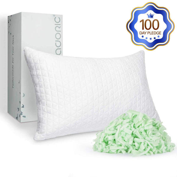 Adoric Memory Foam Pillow, King Size Pillows for Sleeping for Side Back Sleepers Cervical Pillow Shredded Memory Foam Pillow with Washable Removable Cover White King