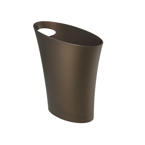 Umbra Skinny Sleek & Stylish Bathroom Trash, Small Garbage Can Wastebasket for Narrow Spaces at Home or Office, 2 Gallon Capacity, Bronze