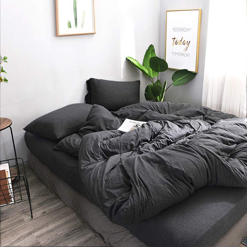 FOSSA Jersey Knit 3 Pieces Duvet Cover Set Super Soft Comfortable T-Shirt Heathered Cotton Charcoal Black Queen