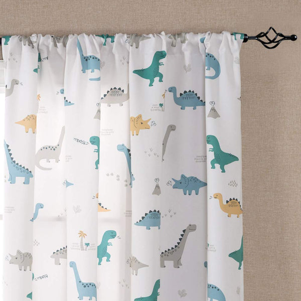 Kids Room Curtains 63 White Curtains Dinosaur Printed Nursery Drapes Window Curtain Panels for Bedroom Rod Pocket, 2 Panels