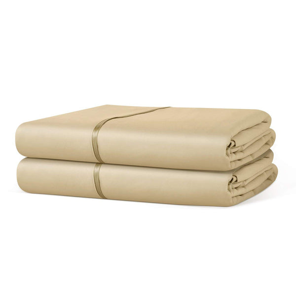 Beckham Hotel Collection Luxury Flat Sheet (2-Pack) - Luxurious Soft-Brushed Microfiber, Hypoallergenic and Stain Resistant - Queen - Gold