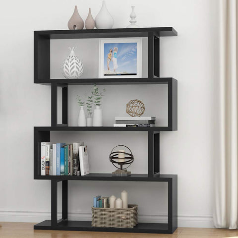 Tribesigns 4 Shelf Bookshelf Modern Bookcase Display Shelf Storage Organizer for Living Room, Home Office, Bedroom (Black)