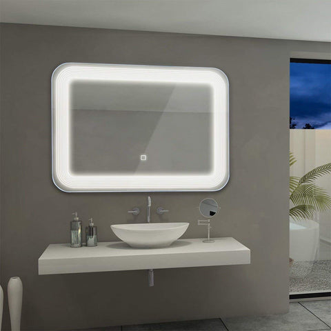 Tangkula LED Mirror Wall Mount Lighted Mirror, Bathroom Bedroom Home Furniture Illuminated with Touch Button, Make Up Wall Mirror 27.5 X 25 Light Bath Rectangle Vanity Mirror