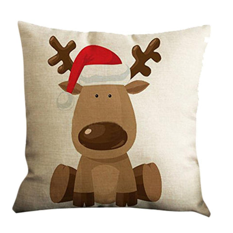 Han Shi Festival Pillow Shams, Christmas Print Sofa Bed Home Decor Square Cushion Cover (A, M)