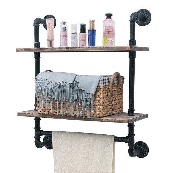 Industrial Pipe Shelf,Rustic Wall Shelf with Towel Bar,24