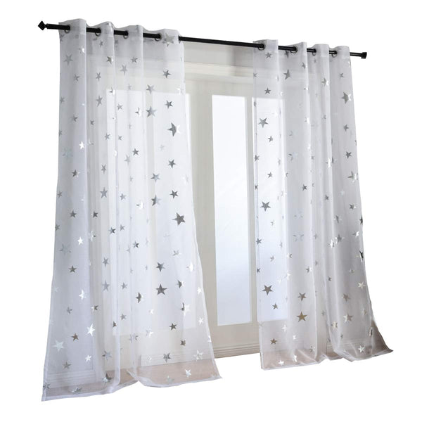 Kotile Silver Star Print 63 Inch Length 2 Panels White Short Curtains for Kids Room, Grommet Window Drapes Voile Sheer Curtain Panels for Nursery Room