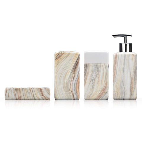 Fimary Ceramic Bathroom Accessory Set Complete - Marble 4 Piece Bathroom Sets White Including Soap Dish, Toothbrush Holder, Tumbler, Lotion Dispenser Bathroom