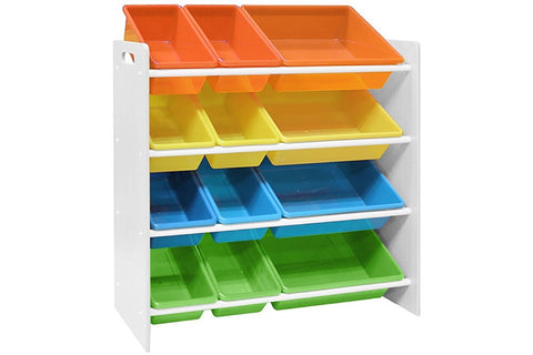 Pidoko Kids Toy Storage Organizer | Wooden Children's Storage Rack, with Plastic Bins (White)