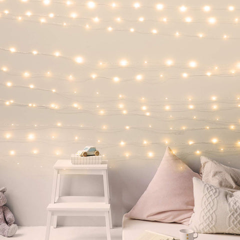 USB Fairy String Lights with ON/Off Switch, 66Ft 200LED Firefly String Lights for Bedroom Halloween Christmas Party Wedding Decor, Warm White