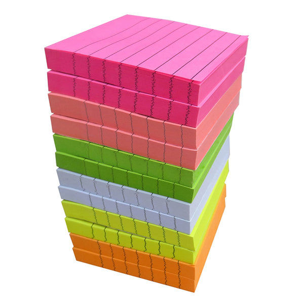 Creatiburg Sticky Note Pads 1200 Sheets Lined 3x3 inches Office Self-Stick Notes 12 Pads, 6 Bright Colors Easy Post Individually Wrapped Red Pink Green White Yellow Orange
