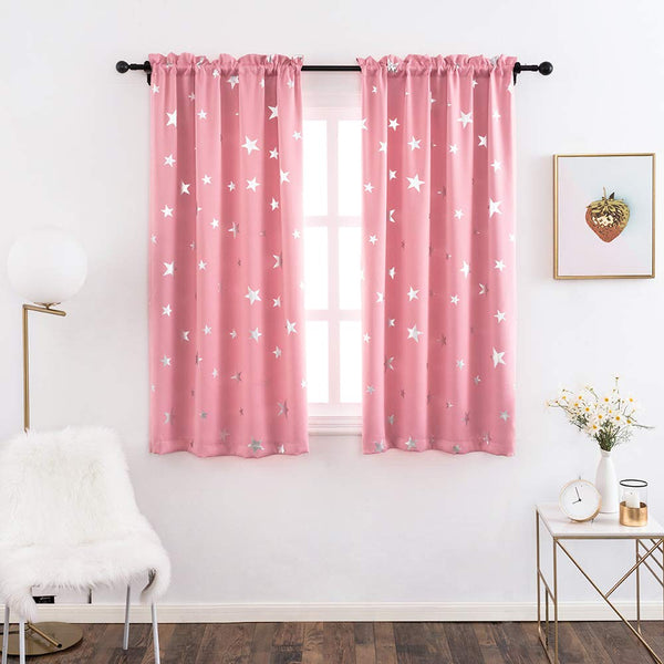 Anjee Kids Curtains for Girls Room with Foil Print Star Pattern, Blackout Window Drapes for Bedroom, 38 x 45 Inches, Pink