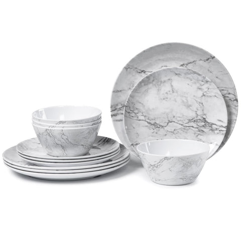 Melamine Dinnerware Set for 4-12 Piece Dinner Dishes Set for Camping Use, Lightweight Unbreakable and Dishwasher Safe, Marble Pattern ...