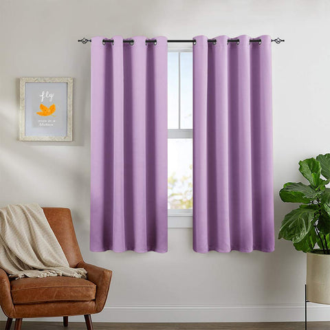 Blackout Curtains for Kids Room Darkening Window Curtain Panels for Living Room 63 inches Long Light Blocking Triple Weave Lila Drapes Grommet Top Window Curtains for Bedroom, 2 Panels