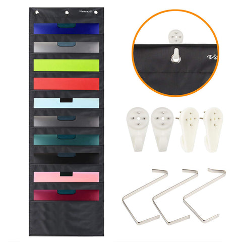 Storage Pocket Chart, Wall Hanging File Organizer Folder with 10 Large Pockets for Office, Home, School, Studio, etc. 14 X 47 inch, Black, 3 Hangers and 4 Hooks