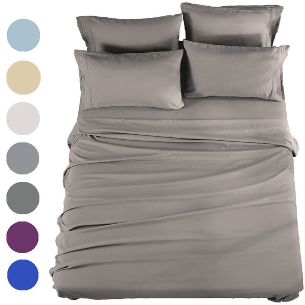 SONORO KATE Bed Sheets Set Sheets Microfiber Super Soft 1800 Thread Count Egyptian Sheets 16-Inch Deep Pocket Wrinkle Fade and Hypoallergenic - 6 Piece (King, Grey)