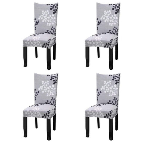 Fuloon Super Fit Stretch Jacquard Removable Washable Short Dining Chair Covers Seat Slipcover for Hotel,Dining Room,Ceremony,Banquet Wedding Party (4, Gray Pattern)