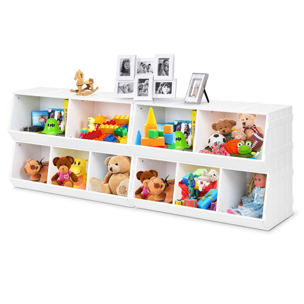 Giantex Kids Toy Storage Bins Children Collection Shelf Multi-Bin Storage Cubby Bin Storage Organizer with 5 Storages for Nursery, Playroom, Closet, Home Organization Toy Shelf Organizer, White (2)