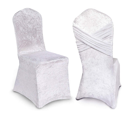 White Chair Covers for Wedding, Party, Baby and Bridal Shower, Set of 2 Stretch Velvet Spandex Chair Cover