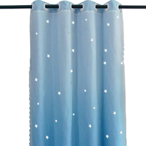 Hughapy Star Curtains Stars Blackout Curtains for Kids Girls Bedroom Living Room Double Layer Star Cut Out Sparkle Blackout Gradient Window Curtains, 1 Panel -(52W x 84L, Blue)
