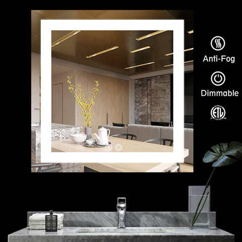 BATH KNOT Wall Mounted Smart Vanity Mirror with Lights - LED Square Bathroom Makeup Vanity Mirror with ETL Certification for Whole Mirror, 36 x 36 Inch