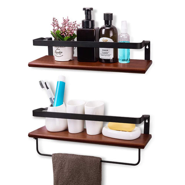 YASASHELF Floating Shelves Wall Mounted, Rustic Wood Wall Shelves for Bathroom, Kitchen, Living Room, Bedroom, Office etc. - Set of 2 Brown