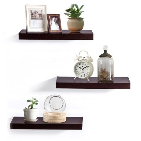 AHDECOR Floating Wall Mounted Shelves, Set of 3 Display Ledge Shelves Wide Panel for Bedroom Office Kitchen Living Room, 5.9