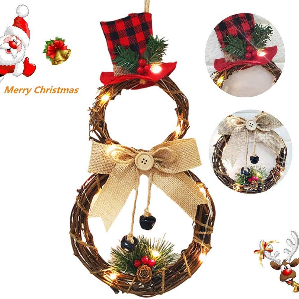 Mooduuty Christmas Wreath, 15.7 Inch LED Merry Christmas Front Door Wreaths Small Christmas Decorations Home Decor