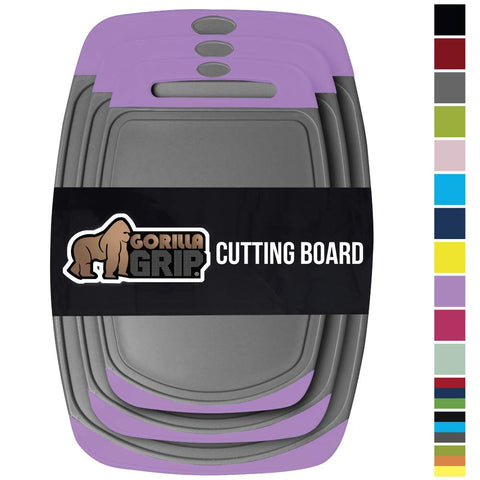 Gorilla Grip Original Oversized Cutting Board, 3 Piece, BPA Free, Juice Grooves, Larger Thicker Boards, Easy Grip Handle, Dishwasher Safe, Non Porous, X Large, Kitchen, Set of 3, Purple Gray