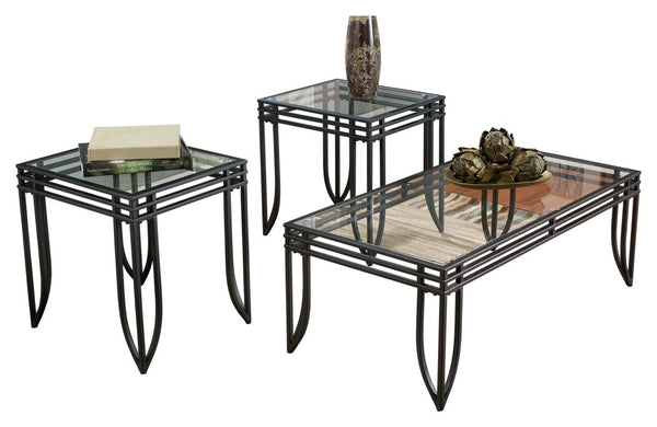 Ashley Furniture Signature Design - Exeter Glass Top Occasional Table Set - Contains Cocktail Table & 2 End Tables - Contemporary - Black/Brown