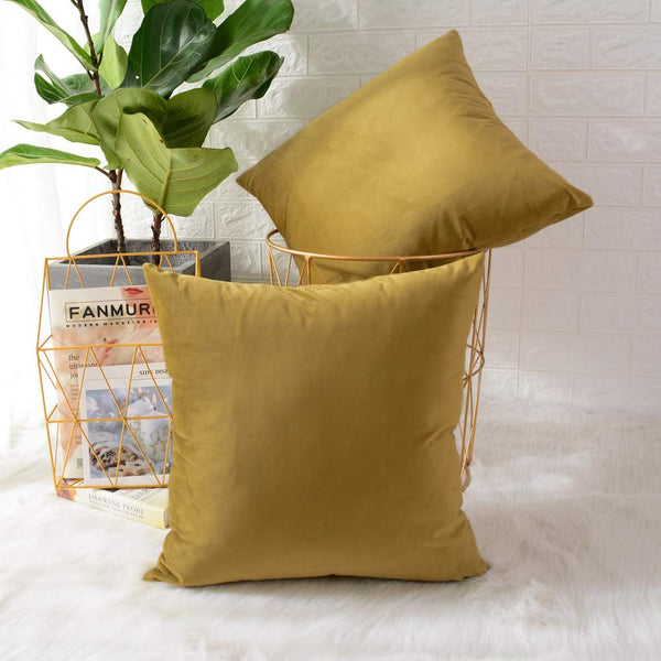 MERNETTE Pack of 2, Velvet Soft Decorative Square Throw Pillow Cover Cushion Covers Pillow case, Home Decor Decorations for Sofa Couch Bed Chair 20x20 Inch/50x50 cm (Grass Yellow)
