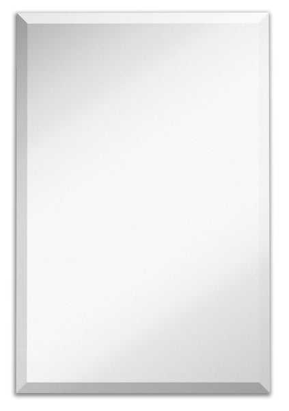 Large Simple Rectangular Streamlined 1 Inch Beveled Wall Mirror | Premium Silver Backed Rectangle Mirrored Glass Panel Vanity, Bedroom, or Bathroom Hangs Horizontal & Vertical Frameless(24