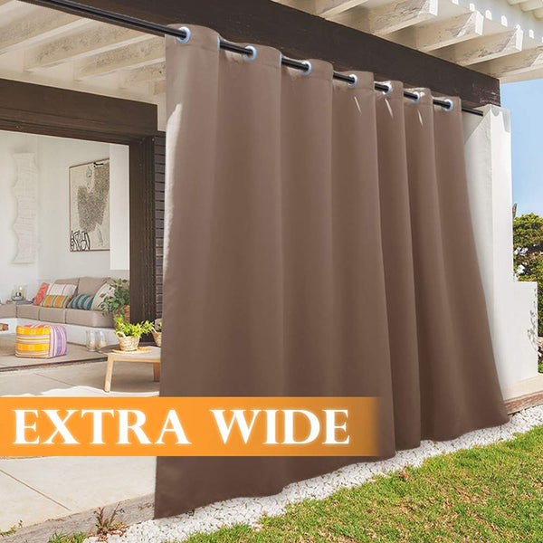 RYB HOME Outdoor Curtain - Sun Blocking Curtains Portable Contemporary Vertical Blind Room Darkening Shade for Garage Window/Patio Door/Pergola, 100 x 84, 1 Panel, Mocha