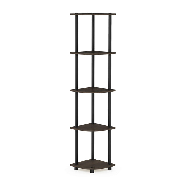 Furinno Turn-N-Tube 5 Tier Corner Shelf, Dark Brown Grain/Black