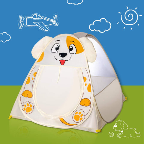 Pop up Cute White Puppy Kids Play Tent for Boys Girls, Foldable Playhouse Tent Indoor for Toddler Baby Children, Quick Set up Games Play Toys Gift with Carry Bag