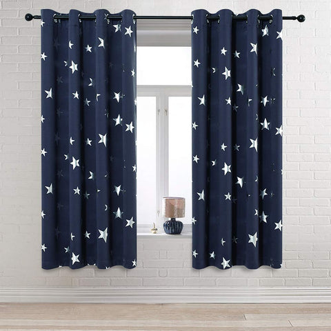 Anjee Navy Blue Star Print Blackout Curtains 63 Inch for Kids Room (2 Panels), Thick Thermal Insulated Window Drapes, Each Panel W52 x L63 in