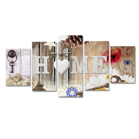 Heart of Love Home Art Abstract Flower Painting Print on Canvas Modren Artwork Picture for Bedroom Wall Decor 5 Panels a Set
