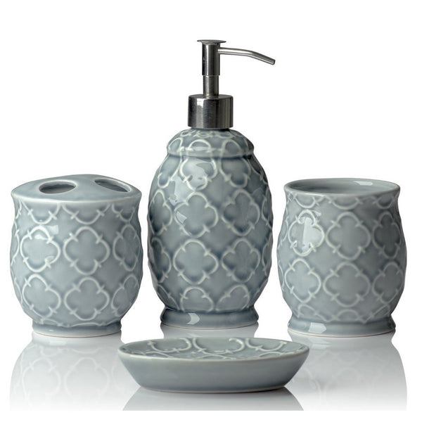 Designer 4-Piece Ceramic Bath Accessory Set | Includes Liquid Soap or Lotion Dispenser w/Toothbrush Holder, Tumbler, Soap Dish | Moroccan Trellis | Contour Grey - Holds 15.6 oz