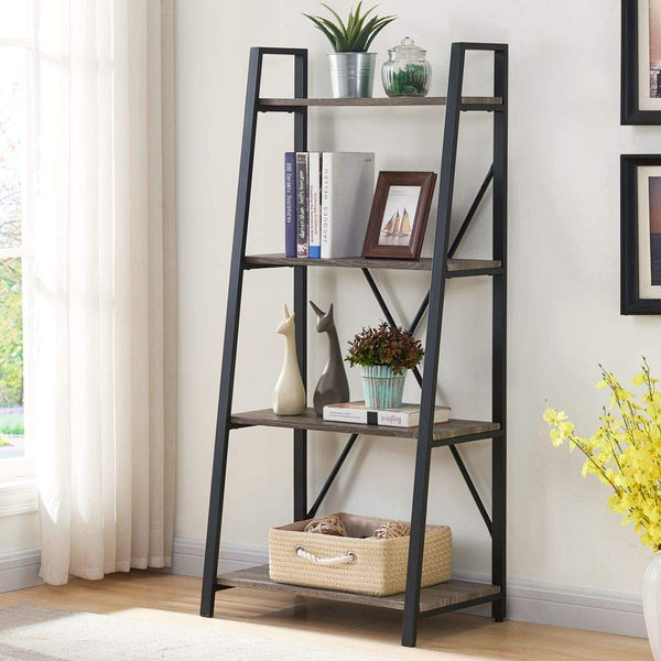 BON AUGURE Ladder Shelf 4 Tier Rustic Bookshelf, Indoor Plant Stand Storage Shelves, Metal and Wood Leaning Industrial Bookcase(Dark Gray Oak)
