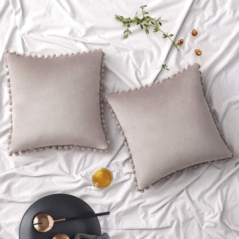 Woaboy Pack of 2 Velvet Throw Pillow Covers Pompom Decorative Pillowcases Solid Soft Cushion Covers with Poms Square Cojines for Couch Living Room Sofa Bedroom Car 18x18inch 45x45cm Warm Grey