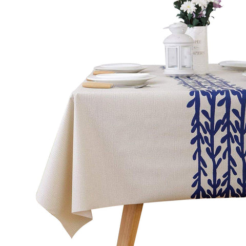 LEEVAN Heavy Weight Vinyl Rectangle Table Cover Wipe Clean PVC Tablecloth Oil-Proof/Waterproof Stain-Resistant-54 x 84 Inch(Rattan)